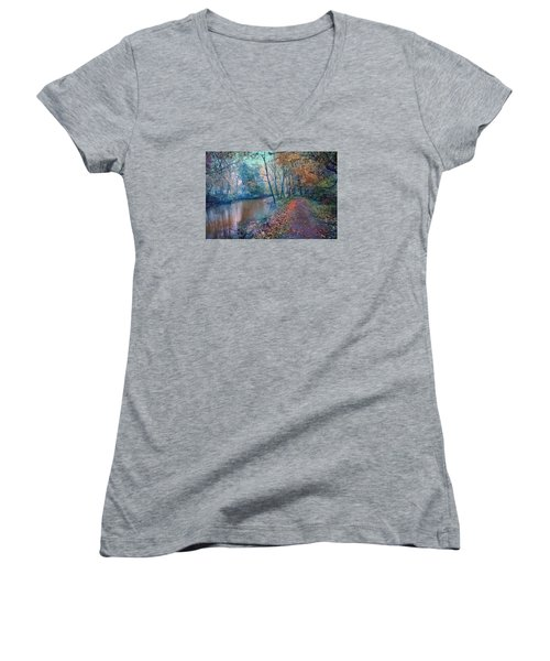 In The Stillness Of The Morning Women's V-Neck T-Shirt (Junior Cut) by John Rivera