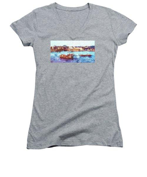 Women's V-Neck T-Shirt (Junior Cut) featuring the digital art Inchon Harbor by Dale Stillman