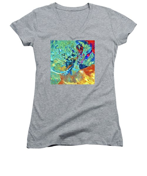 Women's V-Neck T-Shirt (Junior Cut) featuring the painting Incursion by Dominic Piperata