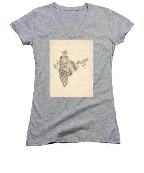 India Map, Old Sheet Music Map Of India Women's V-Neck T-Shirt (Junior Cut) by Michael Tompsett