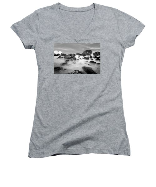 Indian Beach, Ecola State Park, Oregon, In Black And White Women's V-Neck