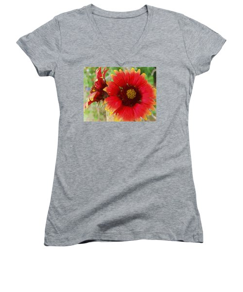 Women's V-Neck featuring the digital art Indian Blanket Flowers by Shelli Fitzpatrick
