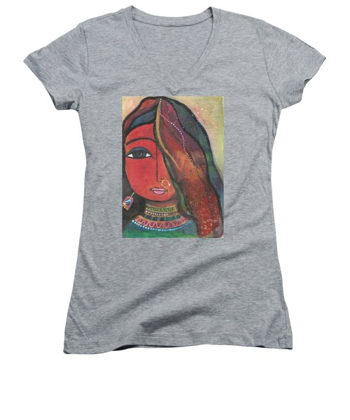 Indian Girl With Nose Ring Women's V-Neck