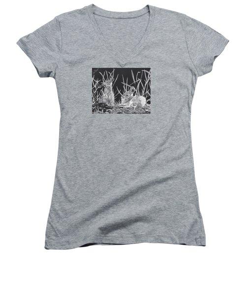 Indian Ink Rabbits Women's V-Neck T-Shirt (Junior Cut) by Kevin F Heuman