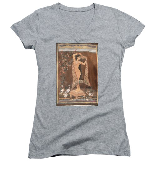 Indian Lady After Swim Women's V-Neck T-Shirt (Junior Cut) by Vikram Singh