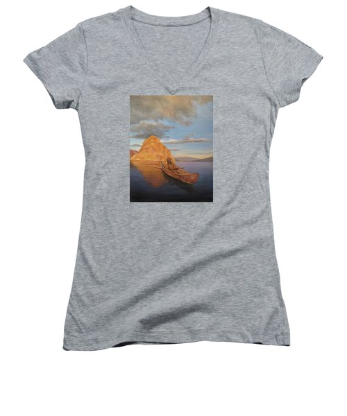 Indian On Lake Pyramid Women's V-Neck (Athletic Fit)