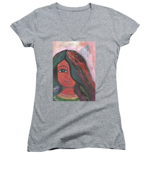 Indian Rajasthani Woman Women's V-Neck (Athletic Fit)