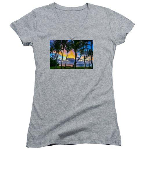 Indian River Sunrise Women's V-Neck T-Shirt (Junior Cut) by Tom Claud