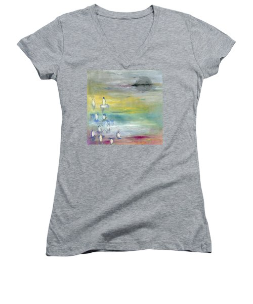 Indian Summer Over The Pond Women's V-Neck T-Shirt (Junior Cut) by Michal Mitak Mahgerefteh