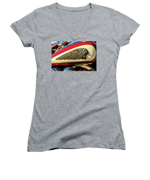 Indian Tank Women's V-Neck T-Shirt (Junior Cut) by Keith Hawley