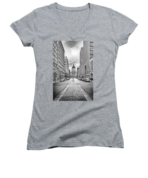 Women's V-Neck featuring the photograph Indiana State Capitol Building by Howard Salmon