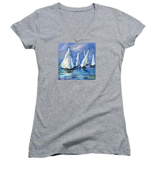 Indigo Seas Women's V-Neck T-Shirt (Junior Cut) by Sharon Furner