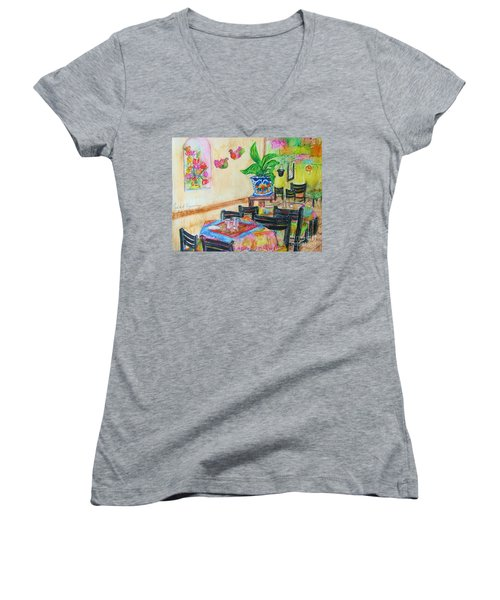Indoor Cafe - Gifted Women's V-Neck T-Shirt (Junior Cut) by Judith Espinoza