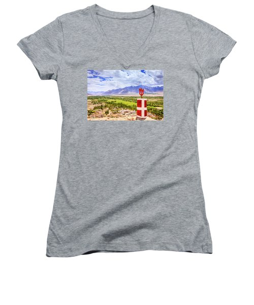 Women's V-Neck T-Shirt (Junior Cut) featuring the photograph Indus Valley by Alexey Stiop