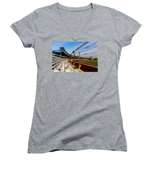 Indy  Indianapolis Motor Speedway Women's V-Neck T-Shirt (Junior Cut) by Iconic Images Art Gallery David Pucciarelli
