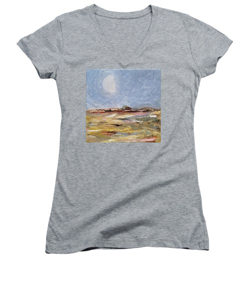 Women's V-Neck T-Shirt featuring the painting Inevitable Epoch by Judith Rhue