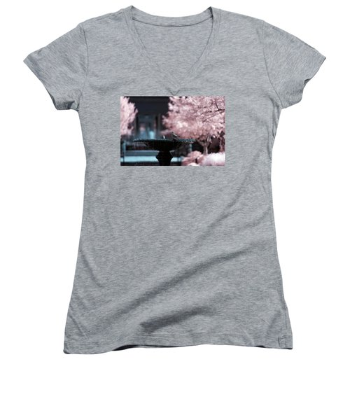 Women's V-Neck featuring the photograph Infrared Morning Dove by Brian Hale