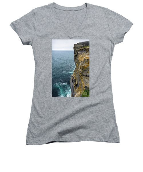 Women's V-Neck T-Shirt (Junior Cut) featuring the photograph Inishmore Cliff And Dun Aengus  by RicardMN Photography