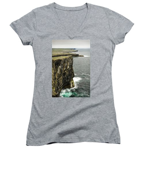 Women's V-Neck T-Shirt (Junior Cut) featuring the photograph Inishmore Cliffs And Karst Landscape From Dun Aengus by RicardMN Photography
