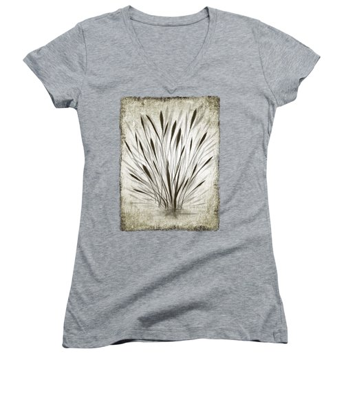 Women's V-Neck featuring the drawing Ink Grass by Ivana Westin