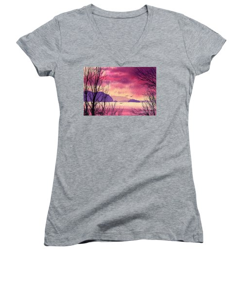 Women's V-Neck T-Shirt (Junior Cut) featuring the painting Inland Sea Islands by James Williamson