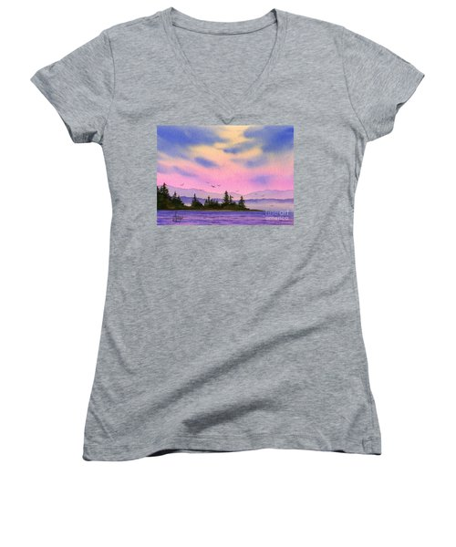 Women's V-Neck T-Shirt (Junior Cut) featuring the painting Inland Sea Sunset by James Williamson