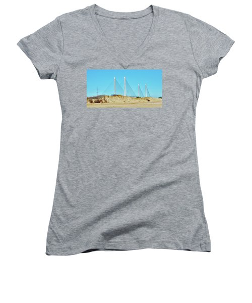 Inlet Bridge Beach View Women's V-Neck T-Shirt (Junior Cut) by William Bartholomew