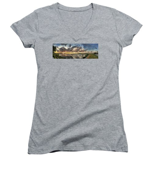 Inlet Sunrise Panorama Women's V-Neck T-Shirt (Junior Cut) by Phil Mancuso