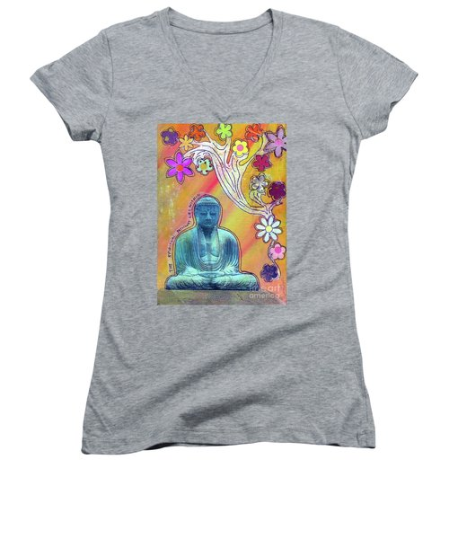 Women's V-Neck T-Shirt (Junior Cut) featuring the mixed media Inner Bliss by Desiree Paquette