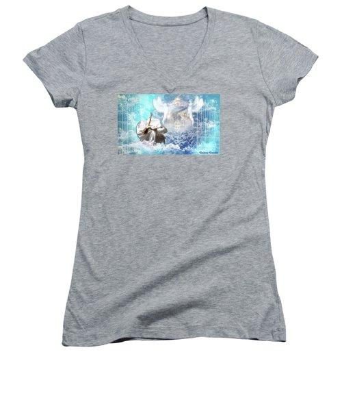 Inner Courts Women's V-Neck T-Shirt (Junior Cut) by Dolores Develde