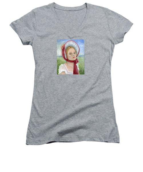 Women's V-Neck T-Shirt (Junior Cut) featuring the painting Innocence by Terry Webb Harshman