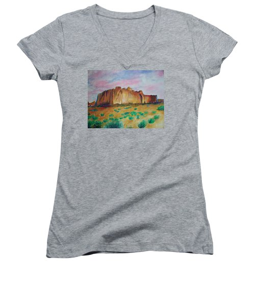 Women's V-Neck T-Shirt (Junior Cut) featuring the painting Inscription Rock  by Eric  Schiabor
