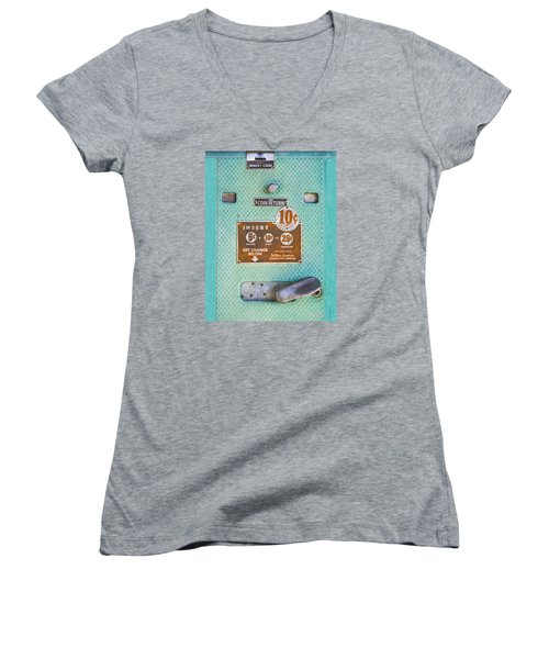 Insert Coin Women's V-Neck T-Shirt (Junior Cut) by Christina Lihani