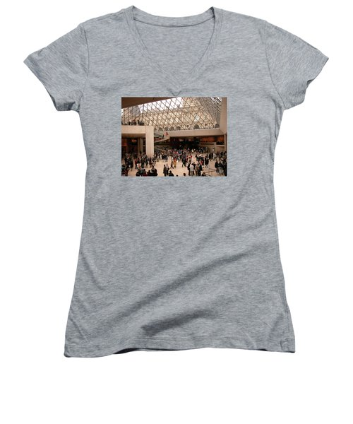 Women's V-Neck T-Shirt featuring the photograph Inside Louvre Museum Pyramid by Mark Czerniec