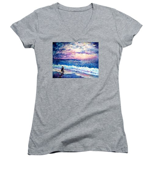 Inspiration-the Musician Women's V-Neck T-Shirt (Junior Cut) by Shana Rowe Jackson