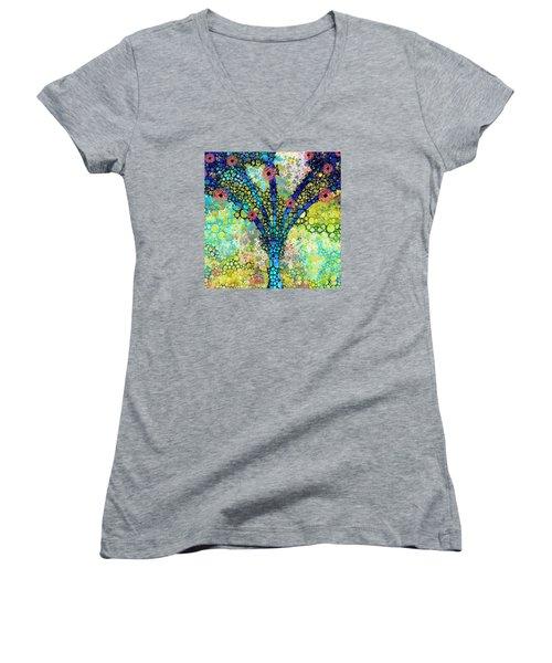 Women's V-Neck T-Shirt (Junior Cut) featuring the painting Inspirational Art - Absolute Joy - Sharon Cummings by Sharon Cummings