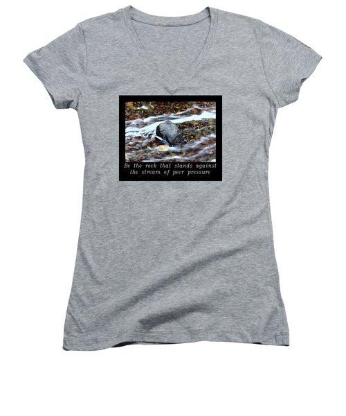 Inspirational-be The Rock Women's V-Neck T-Shirt