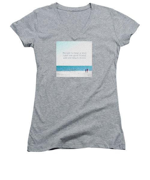 Inspirational Beach Quote Seashore Coastal Women Girlfriends Women's V-Neck T-Shirt (Junior Cut) by Rebecca Korpita