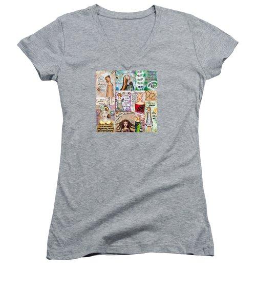 Women's V-Neck T-Shirt (Junior Cut) featuring the mixed media Inspirational Mix by Stanka Vukelic