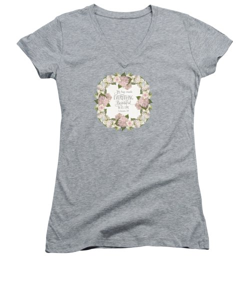 Women's V-Neck T-Shirt (Junior Cut) featuring the painting Inspirational Scripture - Everything Beautiful Pink Hydrangeas And Roses by Audrey Jeanne Roberts