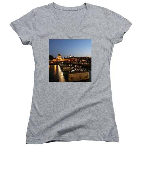 Women's V-Neck T-Shirt (Junior Cut) featuring the photograph Institute Of France by Andrew Fare