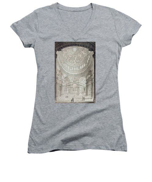 Interior Of Saint Pauls Cathedral Women's V-Neck T-Shirt (Junior Cut) by John Coney