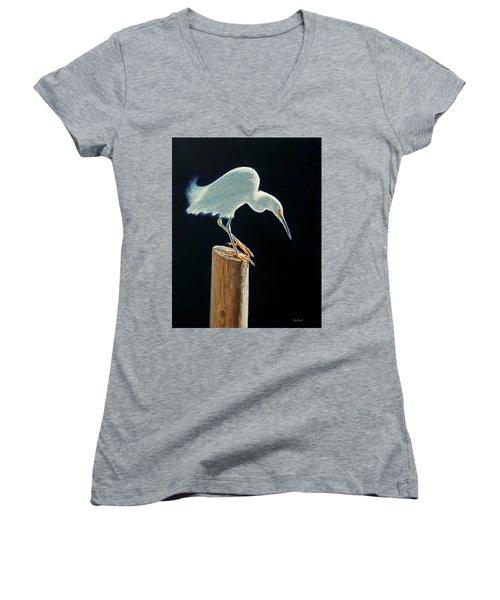 Interlude - Snowy Egret Women's V-Neck