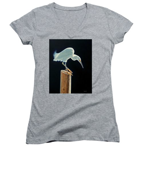 Interlude - Snowy Egret Women's V-Neck (Athletic Fit)