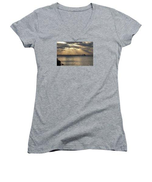 Into Dawn's Early Rays Women's V-Neck T-Shirt (Junior Cut) by Robert Banach