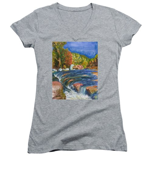 Women's V-Neck T-Shirt (Junior Cut) featuring the painting Into Slide Rock by Eric Samuelson