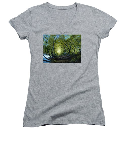 Women's V-Neck T-Shirt (Junior Cut) featuring the painting Into The Light by Billie Colson