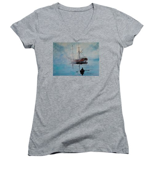 Into The Mist Women's V-Neck T-Shirt (Junior Cut) by Alan Lakin