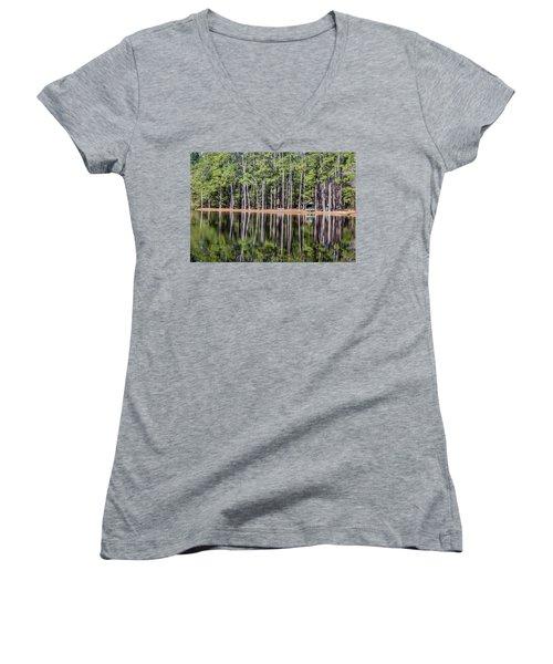 Into The Sc Woods Women's V-Neck T-Shirt (Junior Cut) by Menachem Ganon