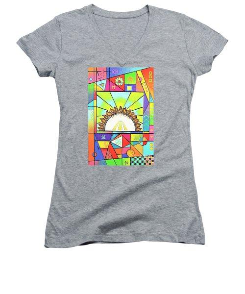 Into The Sun Women's V-Neck T-Shirt (Junior Cut) by Jeremy Aiyadurai